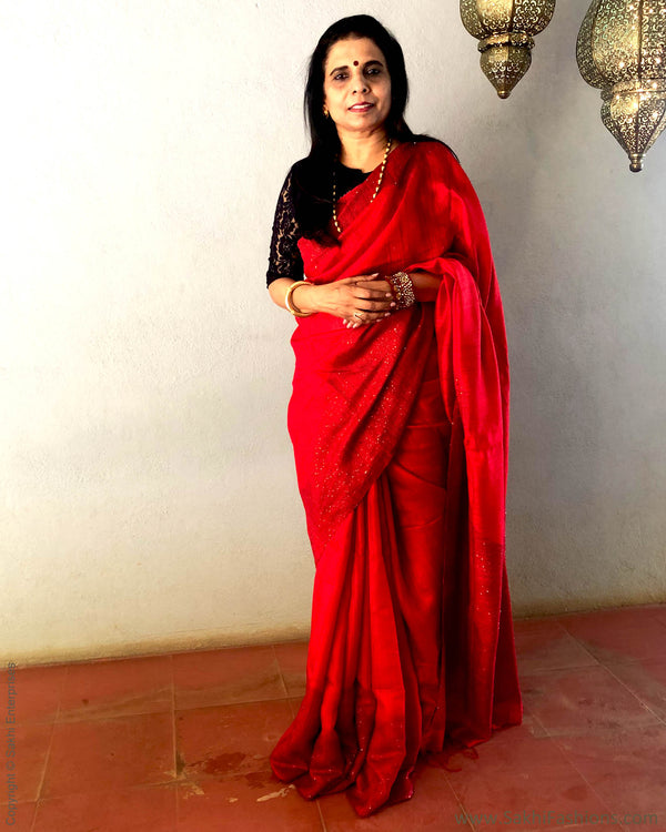EE-S21894 - Red & Gold Pure Matka Silk Saree