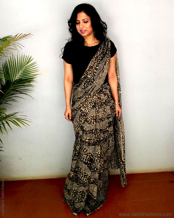 EE-S22694 - Black & Beige Faux Chiffon skirt saree