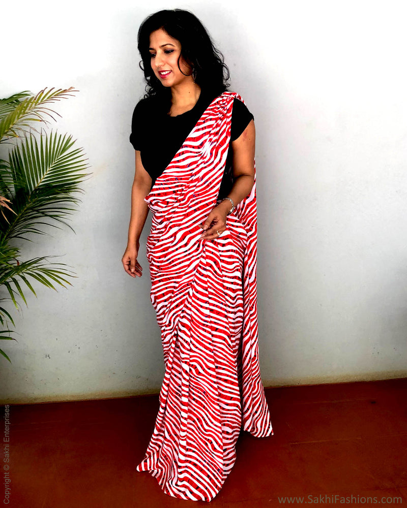 EE-S22819 - The Red Zebra Ready SkirtSaree