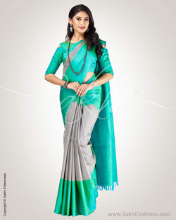 SR-0891 - Green & grey pure Kanchivaram silk saree
