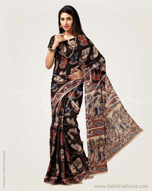 SR-0894 - Black &  pure Cotton Silk  Saree