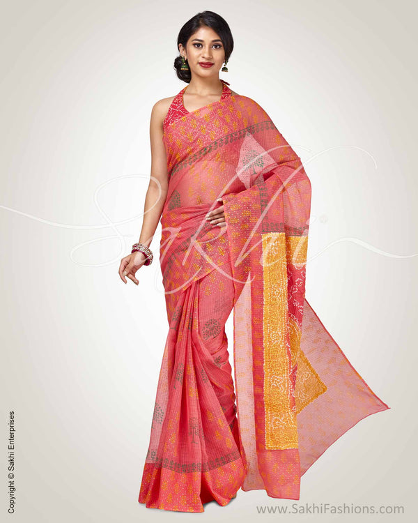 SR-0897-DV- Pink pure Cotton Kota saree