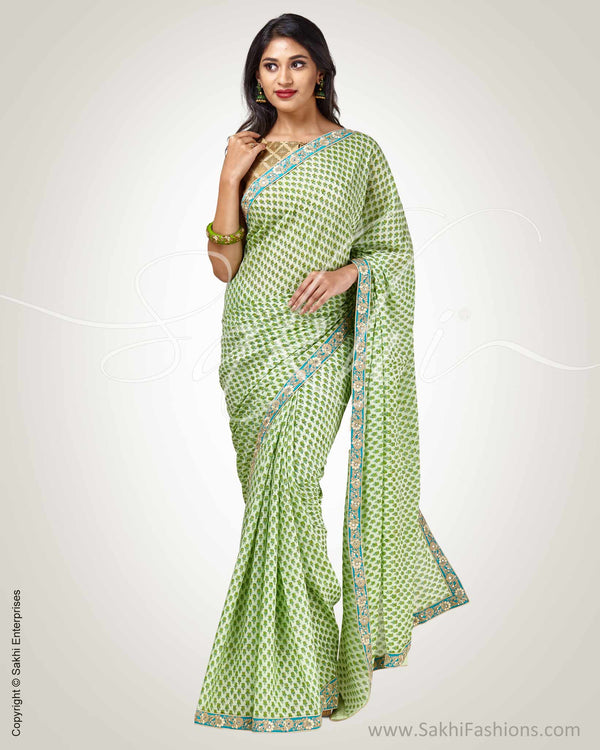 SR-0902 - Green Crepe Silk Saree