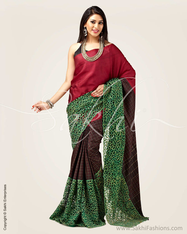SR-0903 - Black & Maroon pure Kanchivaram silk saree