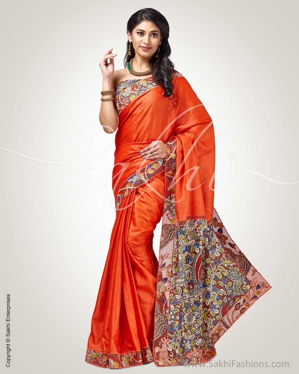 SR-0326T Orange Pure Tussar silk saree