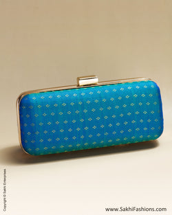 AC-0052 Blue & Gold Pure Kanchivaram Silk Clutch