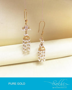 AGDP-20571 - Gold & Cream Pure Gold Hook Earrings
