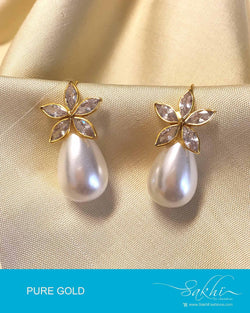 AGDP-8966 - White & Cream Pure Gold Earring
