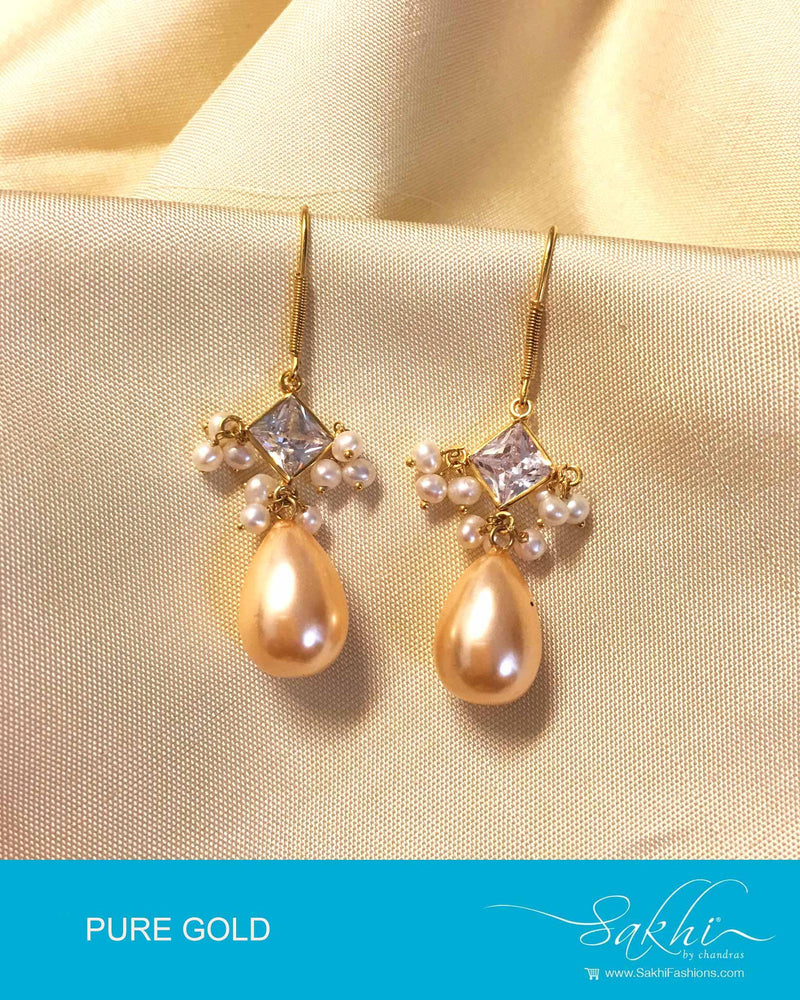 AGDP-8968 - White & Cream Pure Gold Earring