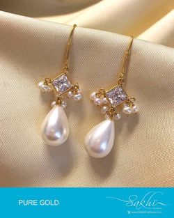 AGDP-8969 - White Pure Gold Earring