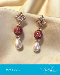 AGDP-8970 - White & Multi Pure Gold Stud with Earring