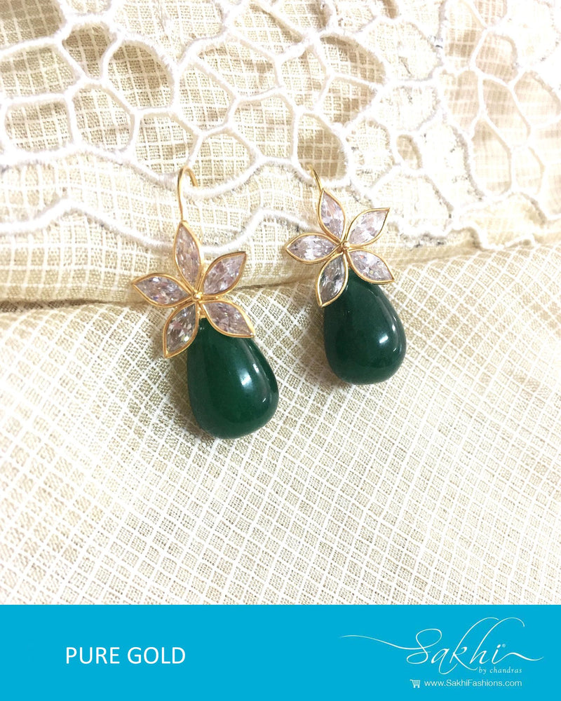 AGDQ-7525 - Green & White Pure Gold Earrings