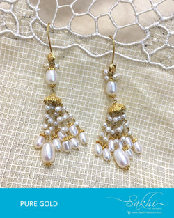 AGDQ-7595 - White & Gold Pure Gold Earrings
