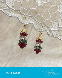 AGDR-0005 - Gold & Multi Pure Gold Earring