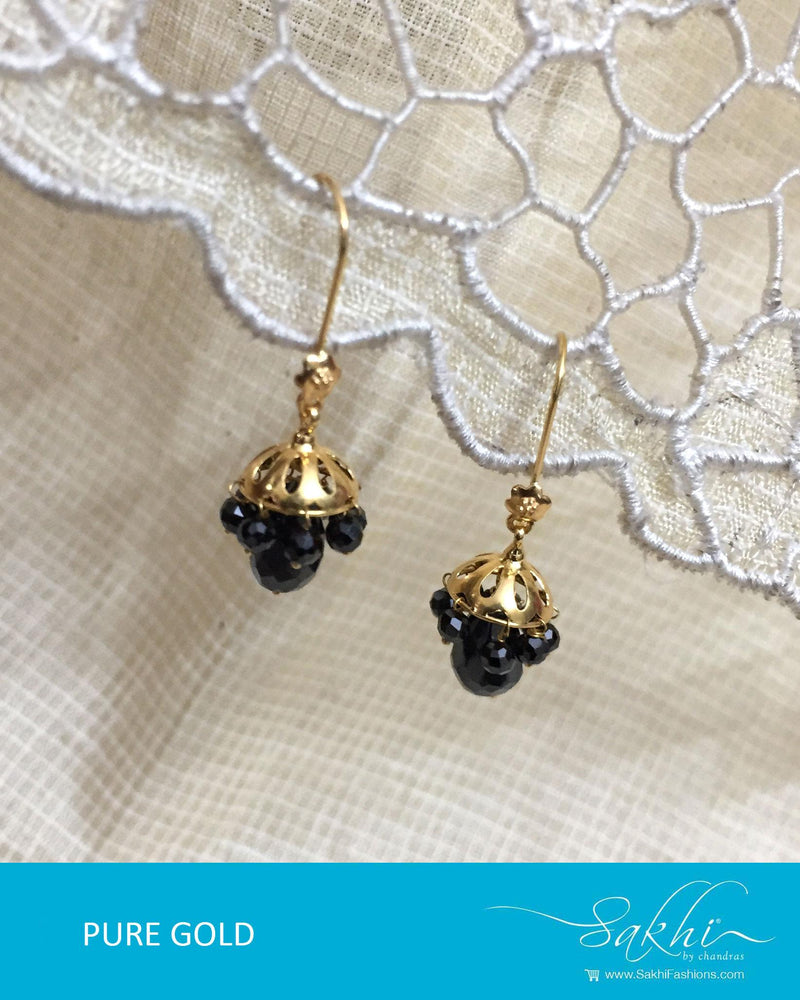 AGDR-0014 - Gold & Black Pure Gold Earring