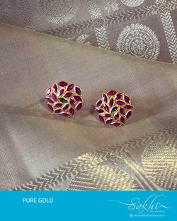 AGDR-10313 - Gold &  Pink Gold Earring