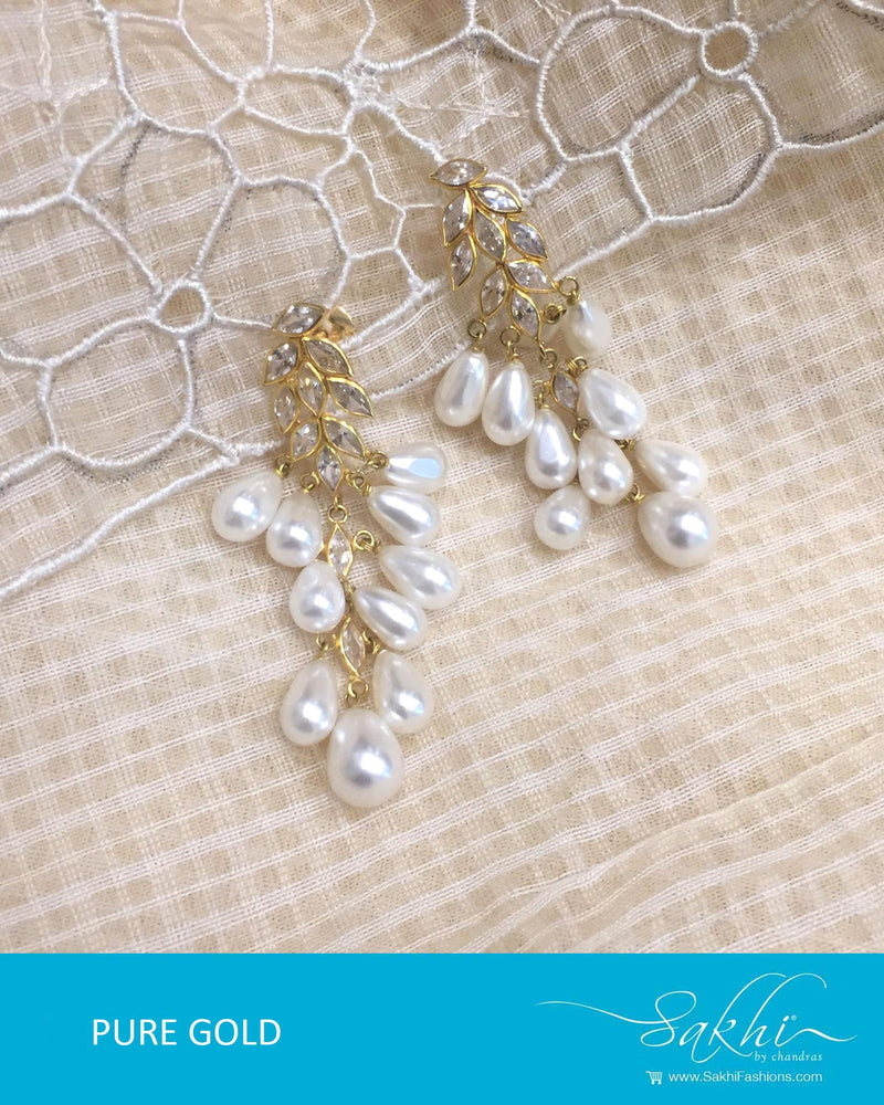 AGDR-3456 - Gold & White Pure Gold Earrings