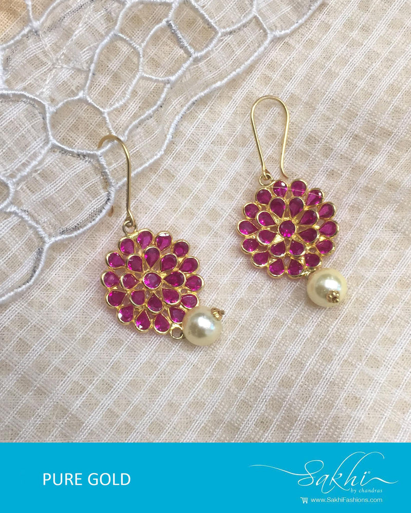 AGDR-3460 - Pink & White Pure Gold Earrings