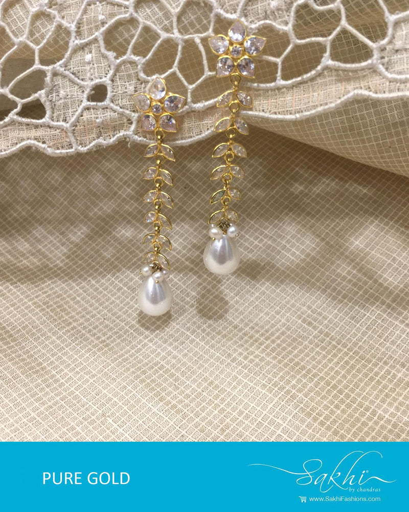 AGDR-4375 - Gold & White Pure Gold Jhumka