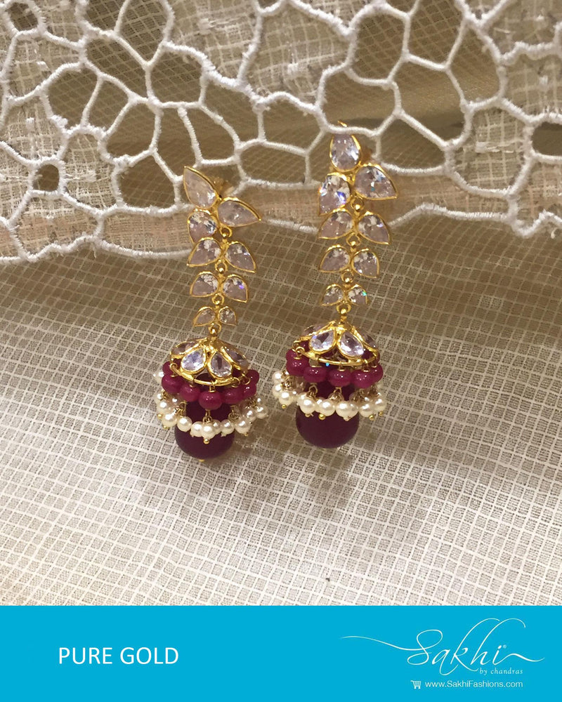 AGDR-4387 - Gold & Red Pure Gold Jhumka