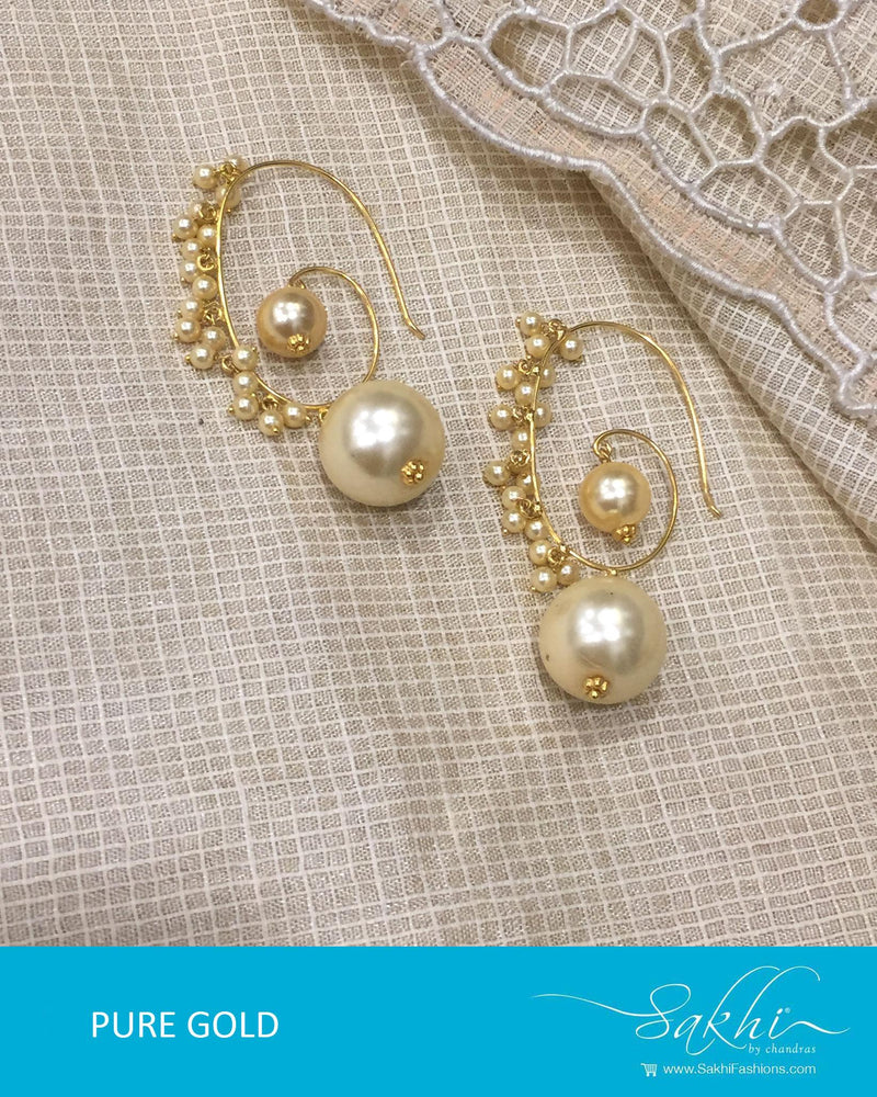 AGDR-4395 - Gold & Cream Pure Gold Jhumka