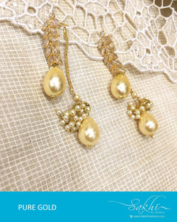 AGDR-4424 - Gold & White Pure Gold Jhumka