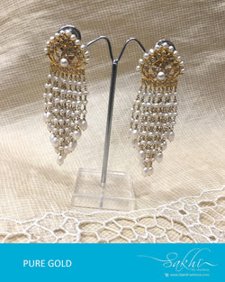 AGDR-4433 - Gold & White Pure Gold Jhumka