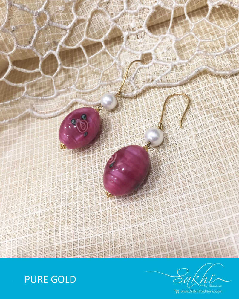 AGDR-598 - Pink & White Pure Gold Earrings