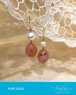 AGDR-600 - Rust & White Pure Gold Earrings