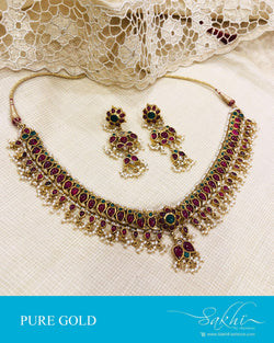 AGDS-16777 - Gold &  Gold Necklace & Earring