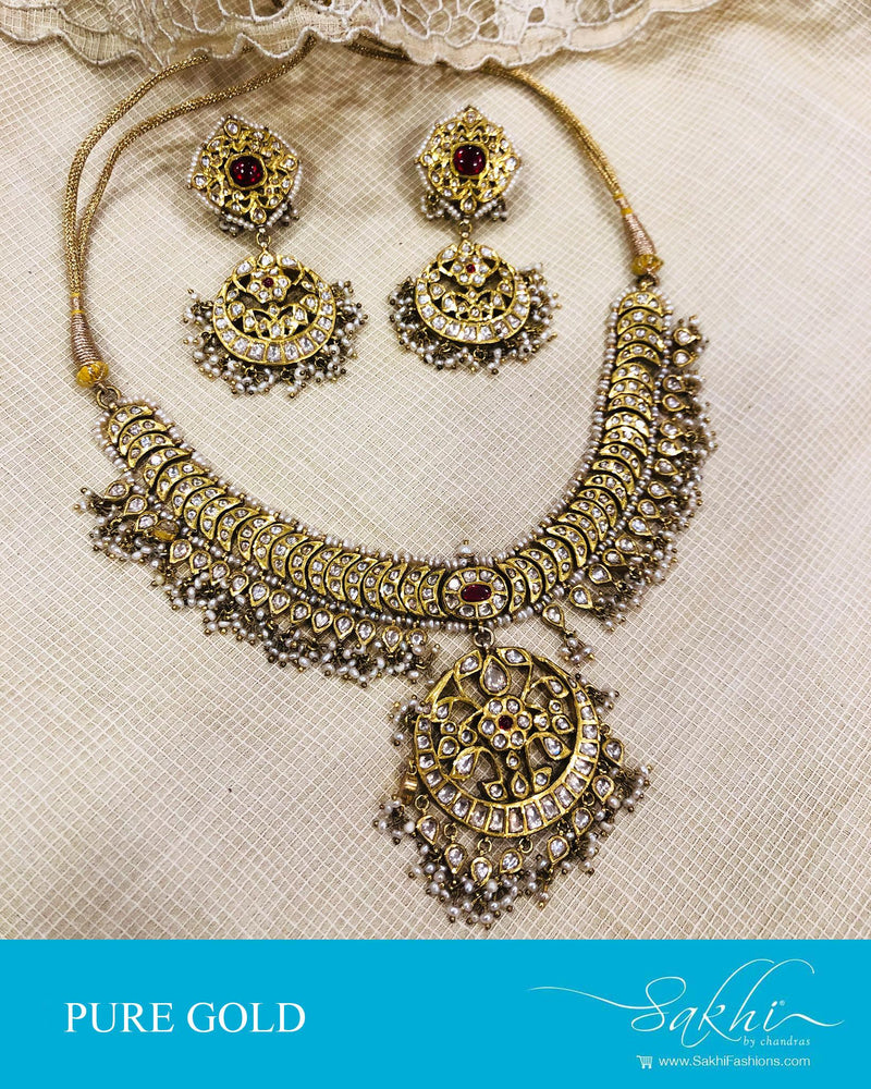 AGDS-16785 - Gold &  Gold Necklace & Earring
