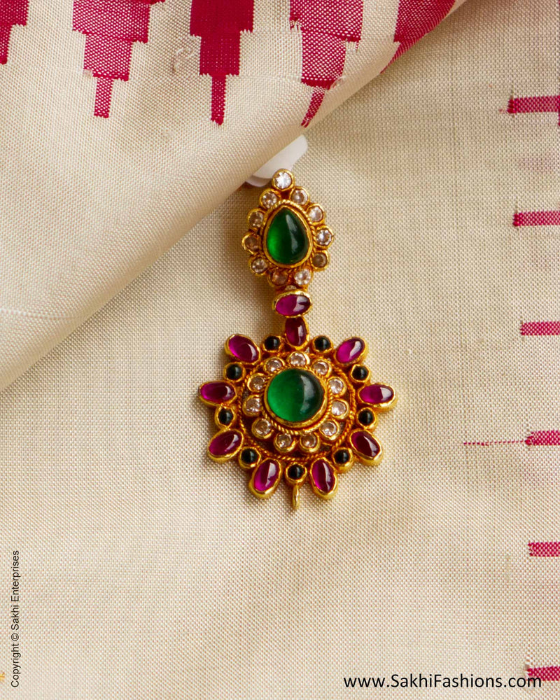 Ruby Red & Emerald Green & Gold Silver White Stone Pendant