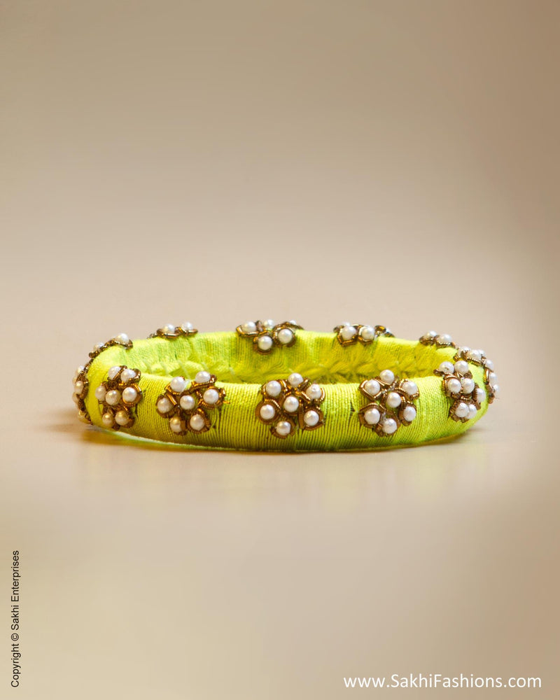 Yellow & White Faux Silk & Pearl Bangle