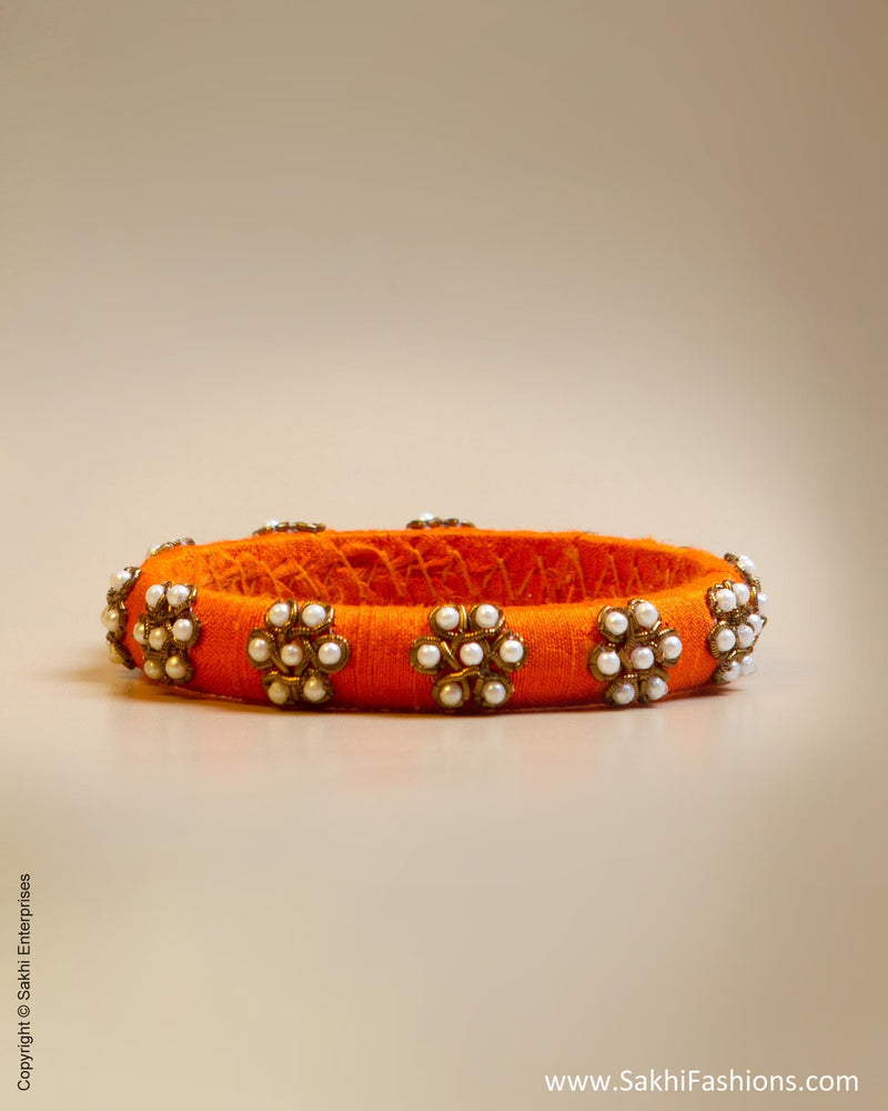 Orange & White Faux Silk & Pearl Bangle