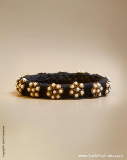 Black & White Faux Silk & Pearl Bangle