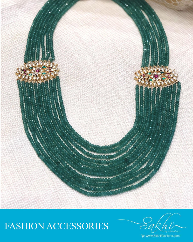 AJDR-28081 - Sea Green &  Crystal Mala