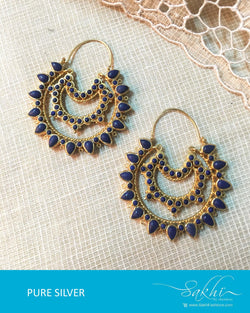 ASDQ-17324 - Multi & Blue Pure Silver Earrings