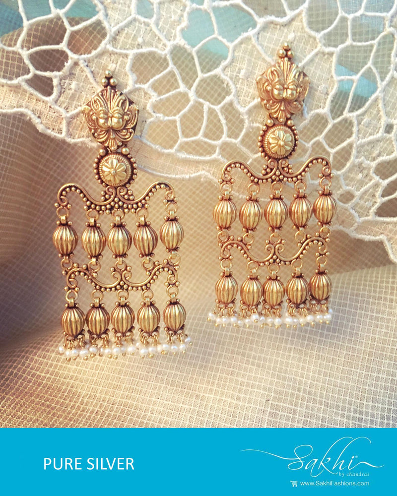ASDQ-17329 - Gold & White Pure Silver Earrings