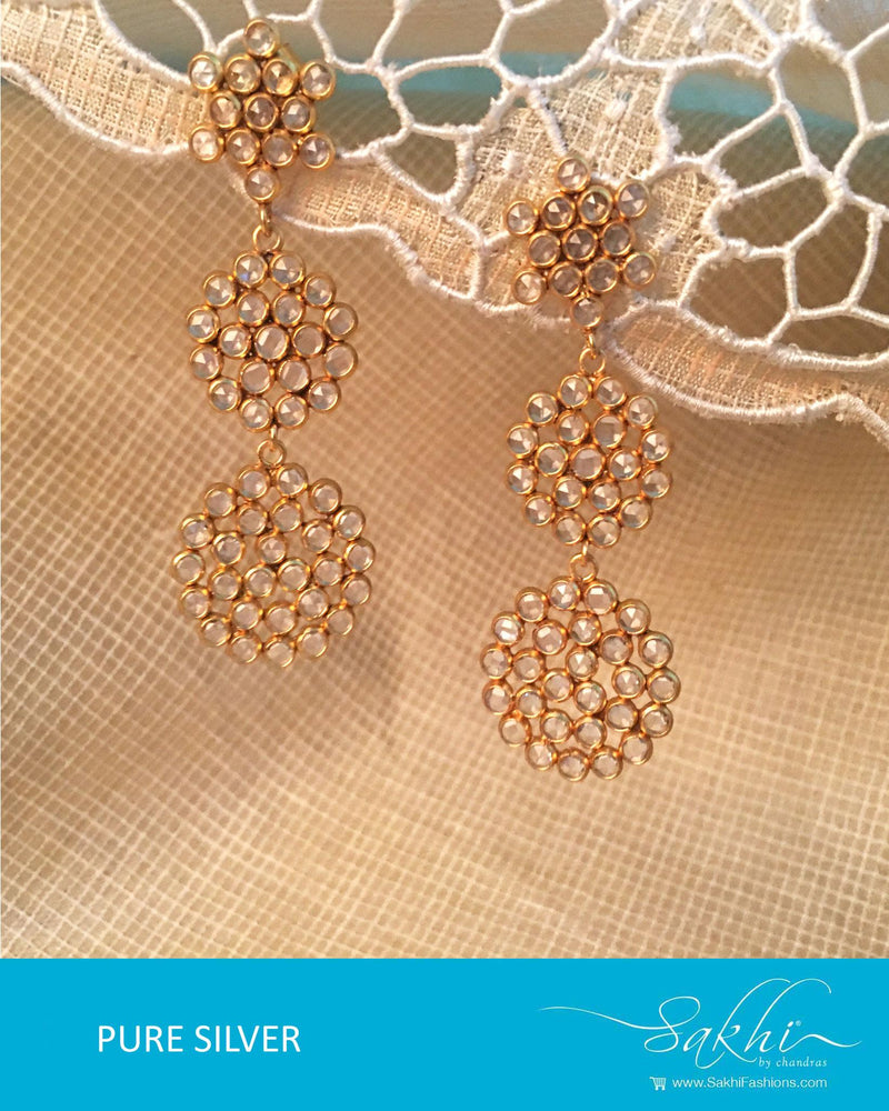 ASDQ-17331 - Gold & White Pure Silver Earrings
