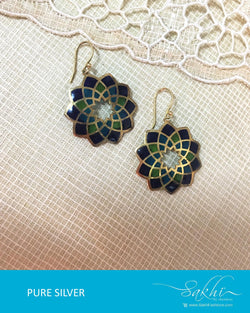 ASDQ-17336 - Multi & Blue Pure Silver Earrings