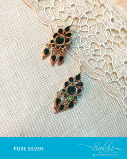 ASDQ-17339 - Green & Gold Pure Silver Earrings