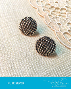 ASDQ-17345 - Silver & Black Pure Silver Earrings