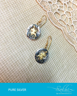 ASDQ-17350 - Silver & Gold Pure Silver Earrings