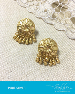 ASDQ-17378 - Gold &  Pure Silver Earrings