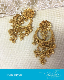 ASDQ-17379 - Gold &  Pure Silver Earrings
