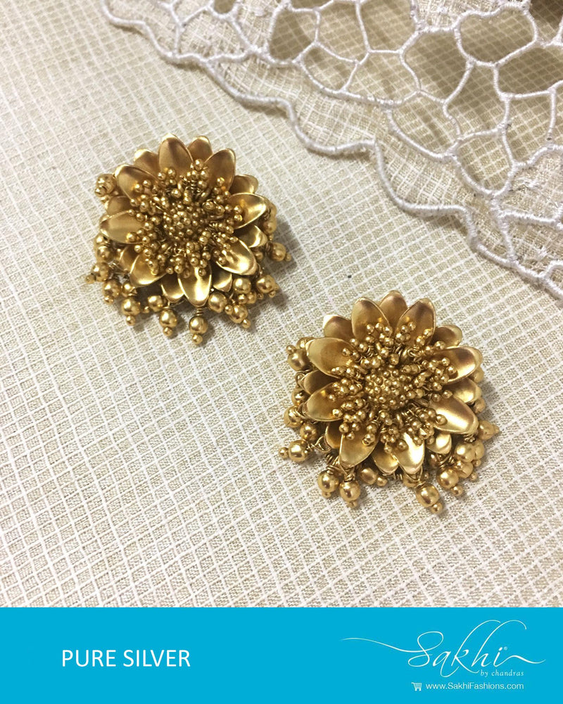 ASDQ-17381 - Gold &  Pure Silver Earrings