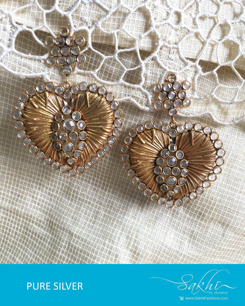 ASDQ-18101 - White & Gold Pure Silver Earrings