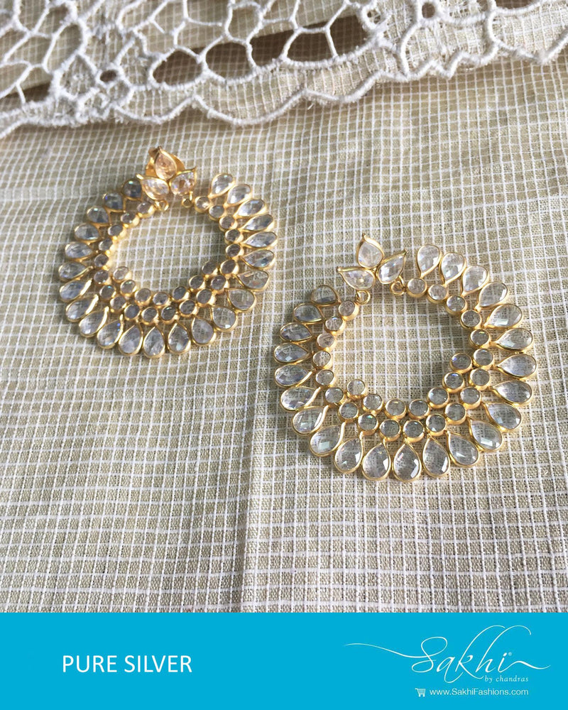 ASDQ-18114 - White & Gold Pure Silver Earrings