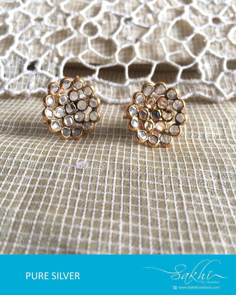 ASDQ-18120 - White & Gold Pure Silver Studd Earrings
