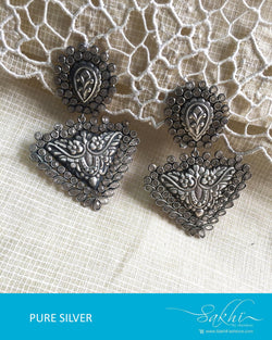 ASDQ-18142 - Silver & White Pure Silver Earrings